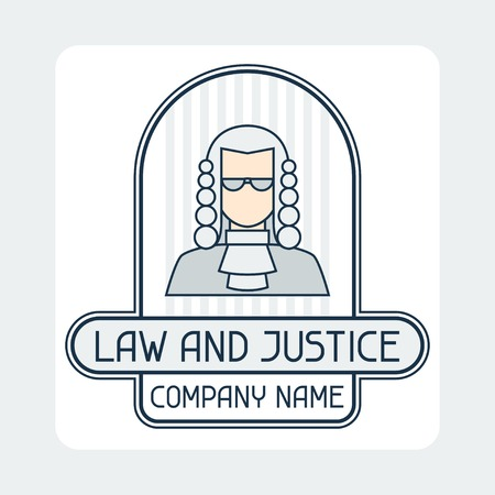 prosecutor: Law and justice company name concept emblem. Illustration