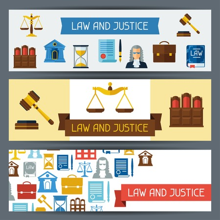 jury: Law and justice horizontal banners in flat design style. Illustration
