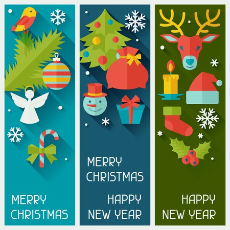Merry Christmas and Happy New Year vertical banners. Vector