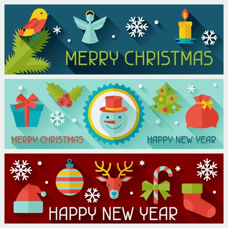 Merry Christmas and Happy New Year horizontal banners. Vector