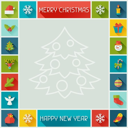 Merry Christmas and Happy New Year frame. Vector