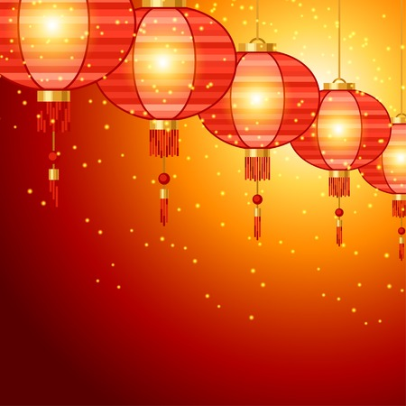 ethnic festival: Chinese New Year background design with lanterns.