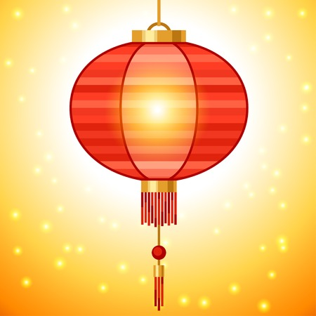 Chinese New Year background design with lanterns. Vector
