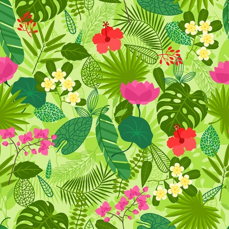 Seamless pattern with tropical plants, leaves and flowers. Vector