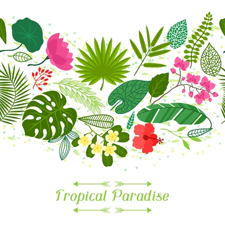 Tropical paradise card with stylized leaves and flowers. Vector