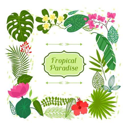 Tropical paradise card with stylized leaves and flowers. Illustration