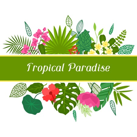 lotus leaf: Tropical paradise card with stylized leaves and flowers. Illustration