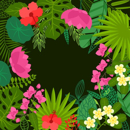 Background of stylized tropical plants, leaves and flowers. Vector