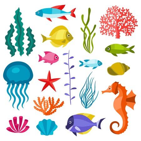 Mariene leven set van iconen, voorwerpen en zeedieren. Stock Illustratie