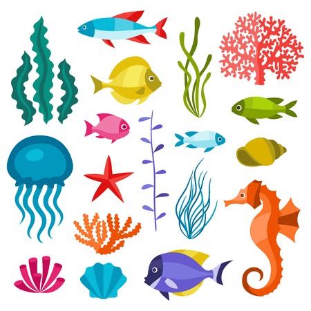 Marine life set of icons, objects and sea animals. Vectores