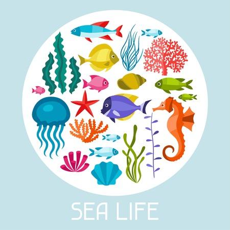 sea animals: Marine life set of icons, objects and sea animals. Illustration
