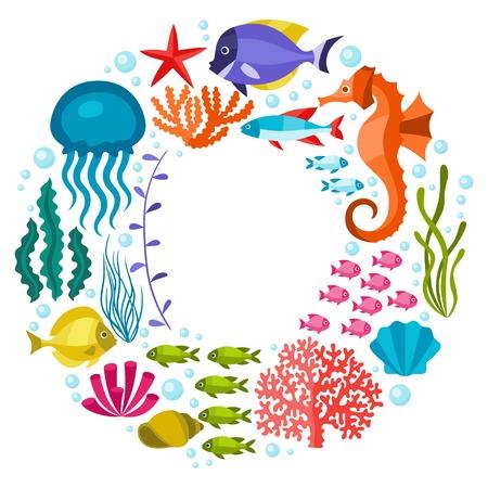 Marine life background design with sea animals. Vector