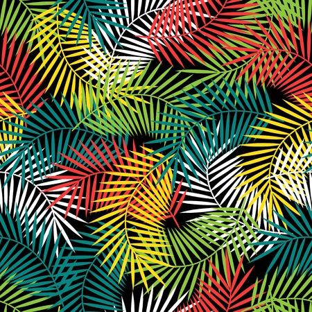無縫的熱帶花紋與程式化的椰子樹葉。 向量圖像