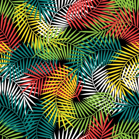 foliage frond: Seamless tropical pattern with stylized coconut palm leaves.