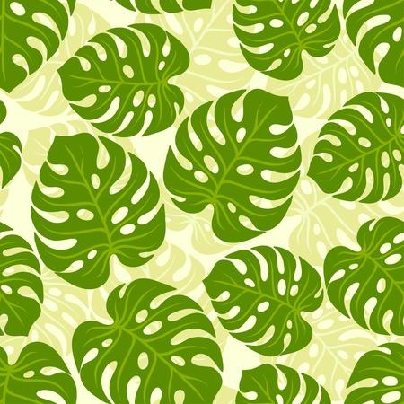 Seamless pattern tropicale con foglie di monstera stilizzate.