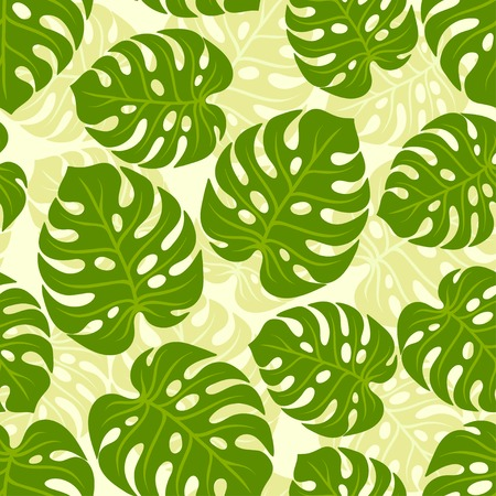 monstera: Seamless tropical pattern with stylized monstera leaves.