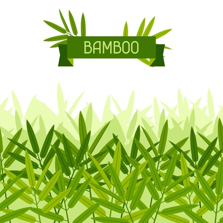 Seamless tropical pattern with stylized bamboo leaves. Vector