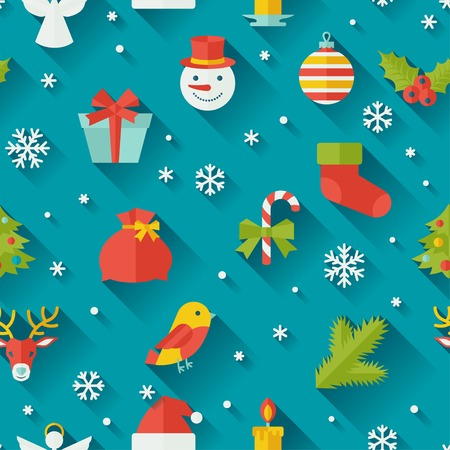 traditional events: Merry Christmas and Happy New Year seamless pattern.