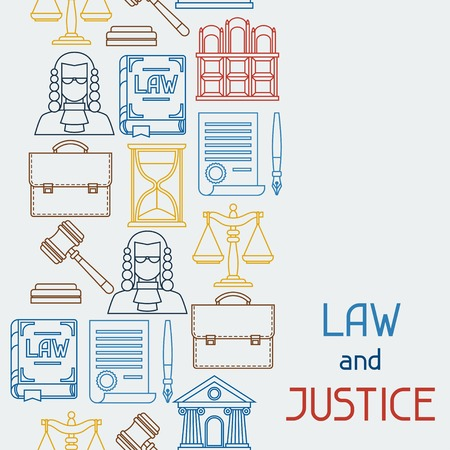 prosecutor: Law and justice icons seamless pattern in flat design style.