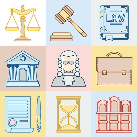 Law contour icons set in flat design style. Vector