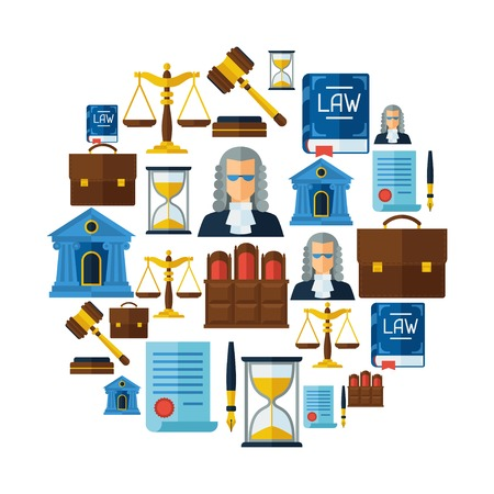 judge hammer: Law icons background in flat design style.