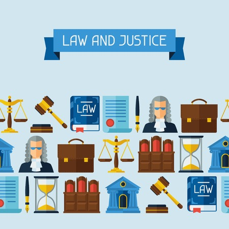 tribunal: Law icons seamless pattern in flat design style. Illustration