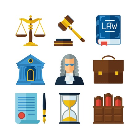 prosecutor: Law icons set in flat design style.