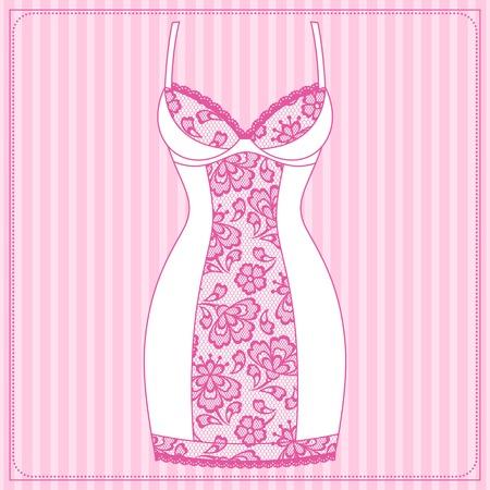 women underwear: Fashion female lingerie with vintage lace ornament.