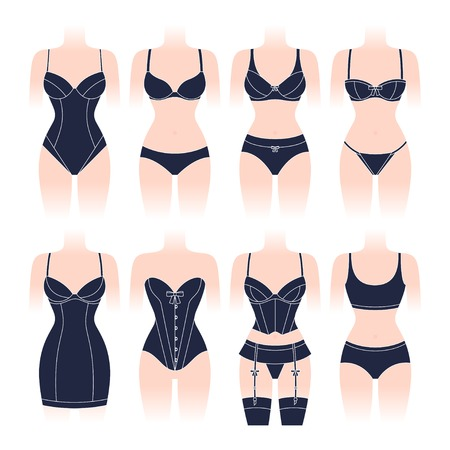 Fashion lingerie set of various female underwear.