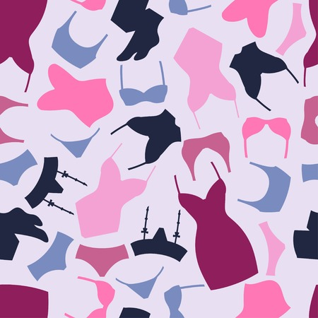 a thong: Fashion lingerie seamless pattern with female underwear. Illustration
