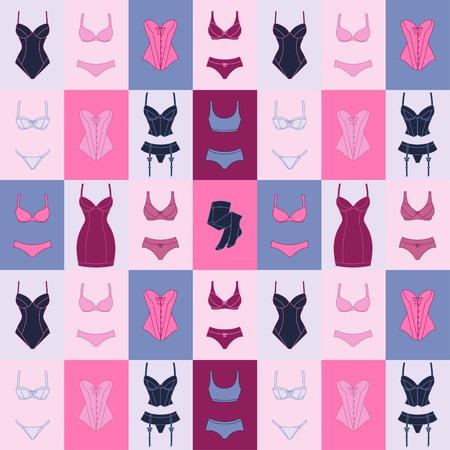 panties: Lencería Moda patrón transparente con ropa interior femenina.
