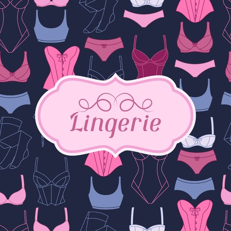 corset: Fashion lingerie background design with female underwear.