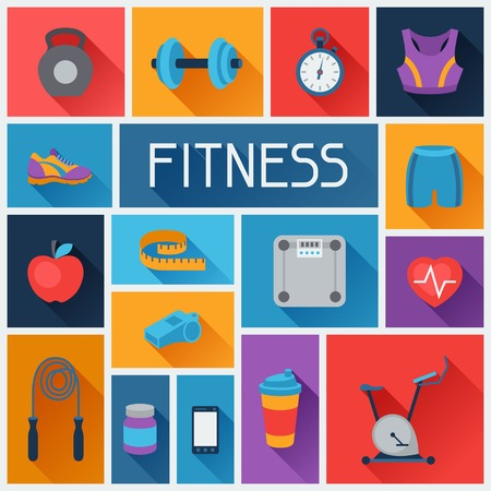 Sports background with fitness icons in flat style.