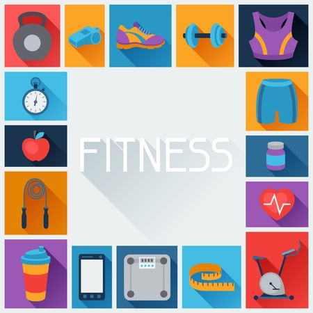 workout gym: Sports background with fitness icons in flat style.