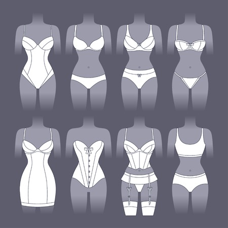 female body: Fashion lingerie set of various female underwear.