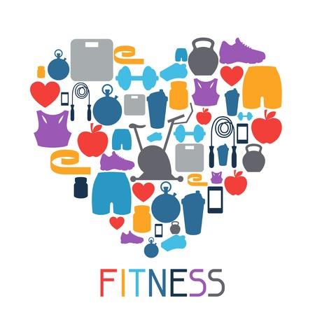 Sport Hintergrund mit Fitness-Symbole im flachen Stil.