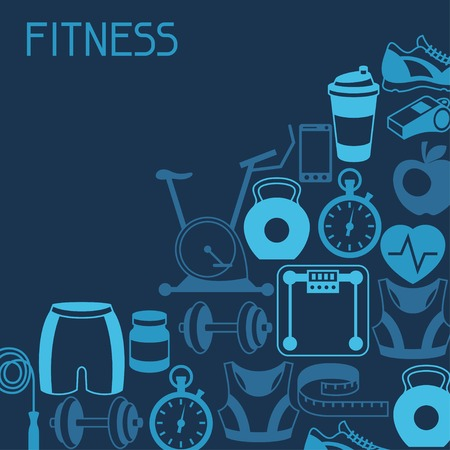 gym equipment: Sports background with fitness icons in flat style.
