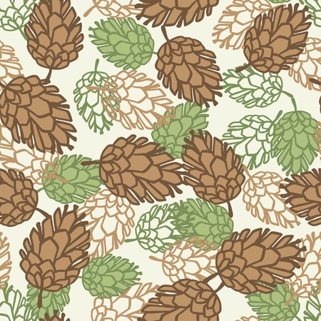 pine cones: Winter seamless pattern with stylized pine cones. Illustration