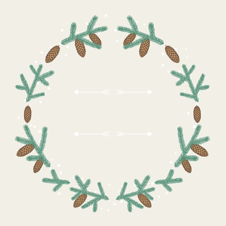 pine cone: Winter background design with stylized fir branches.