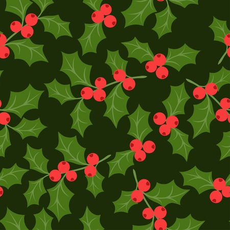 Winter seamless pattern with stylized holly leaves.
