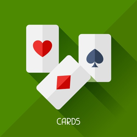 hand business card: Game illustration with cards in flat design style.