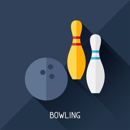 computer clubs: Game illustration with bowling in flat design style. Illustration