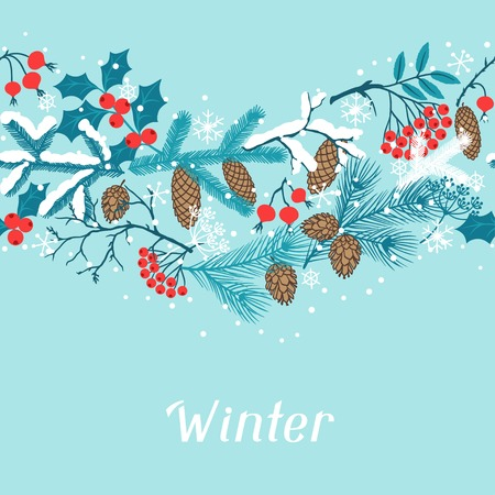 Merry Christmas seamless pattern with winter branches.