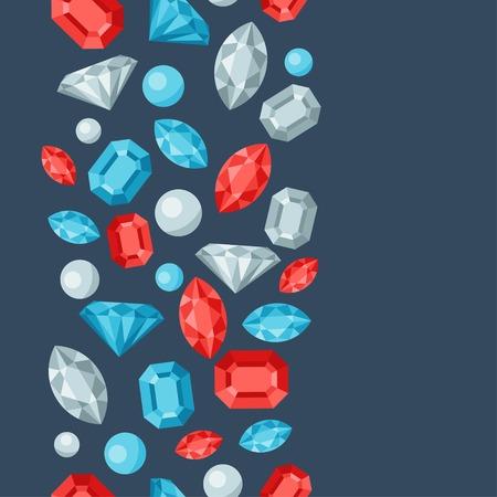 Seamless pattern with beautiful jewelry precious stones.