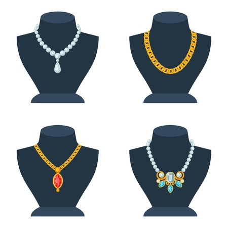 jewelry chain: Set of store mannequins for jewelry shop.