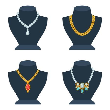 Zestaw sklepowych manekinów do sklepu z biżuterią.