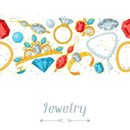 Seamless con bellissimi gioielli e pietre preziose. Archivio Fotografico - 34259811