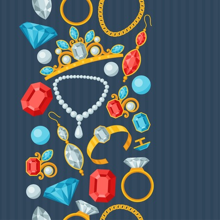 fashion jewelry: Seamless pattern with beautiful jewelry and precious stones.