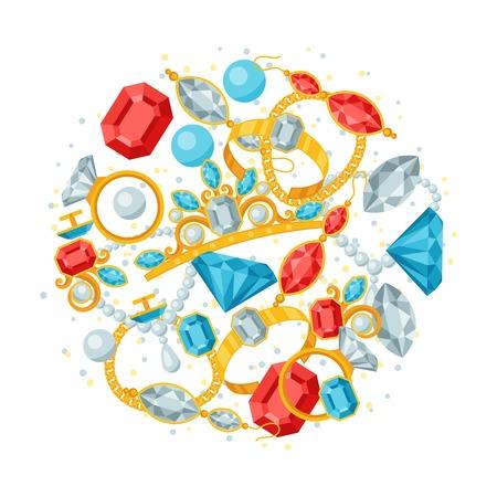 bangle: Set of beautiful jewelry and precious stones.