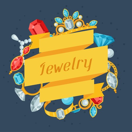 ring ruby: Set of beautiful jewelry and precious stones.